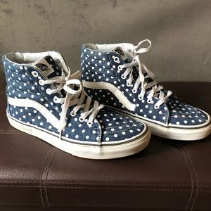 Vans high top denim with white polka dots